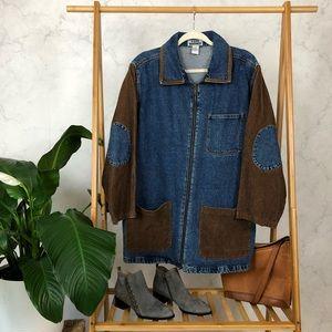 Vintage 90s Corduroy Sleeve Zip Oversized Jacket